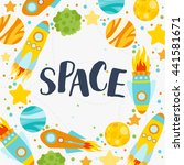 space elements gift card.... | Shutterstock .eps vector #441581671