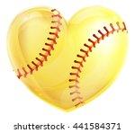 a heart shaped yellow softball...