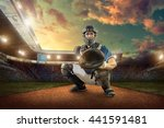 baseball players in action on... | Shutterstock . vector #441591481