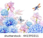 Stock photo floral background illustration of watercolor flowers peonies irises hydrangeas butterflies and 441593311