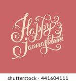 happy krishna janmashtami hand... | Shutterstock . vector #441604111