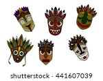 set of african ethnic tribal... | Shutterstock .eps vector #441607039