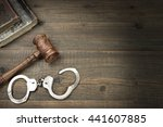 real judges gavel  handcuffs... | Shutterstock . vector #441607885