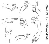 set of hands and fingers in... | Shutterstock . vector #441614959