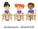 funny pupils sit on desks read... | Shutterstock .eps vector #441625129