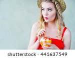 summer style young woman in... | Shutterstock . vector #441637549