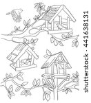 Coloring Book Page With Birds...