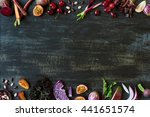 purple toned fruit and... | Shutterstock . vector #441651574