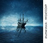 A Ghost Pirate Ship Floating O...