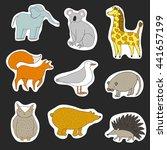 cartoon animals sticker... | Shutterstock .eps vector #441657199