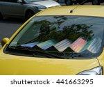 The Car With Sun Shade On The...