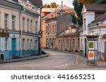 medieval houses on uus street... | Shutterstock . vector #441665251