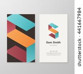 business card with isometric...   Shutterstock .eps vector #441667984