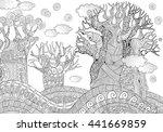 baobab tree. african tree.... | Shutterstock .eps vector #441669859