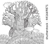 baobab tree. african tree.... | Shutterstock .eps vector #441669871