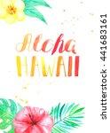 aloha hawaii lettering. card... | Shutterstock . vector #441683161