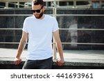 hipster wearing white blank t... | Shutterstock . vector #441693961