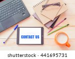 contact us concept.tablet... | Shutterstock . vector #441695731