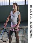 one woman playing tennis sport... | Shutterstock . vector #44170540