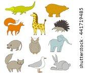 funny  cute animals. handdrawn ... | Shutterstock . vector #441719485