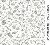 wine bottle  glass  grape vine... | Shutterstock .eps vector #441745501