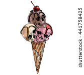 ice cream cone with a skulls... | Shutterstock .eps vector #441758425