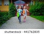 boy and girl go on a schoolyard ...   Shutterstock . vector #441762835