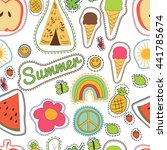 hippie embroidery colorful... | Shutterstock .eps vector #441785674