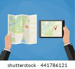 hand holds tablet with city map ... | Shutterstock .eps vector #441786121
