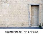 Creme Brick Wall With Door...
