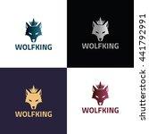 wolf king logo design template  ... | Shutterstock .eps vector #441792991