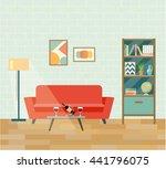 retro interior living room.... | Shutterstock .eps vector #441796075