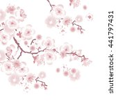 white tree blossom design... | Shutterstock . vector #441797431