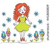 happy young girl walking in... | Shutterstock .eps vector #441800809