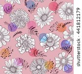 seamless pattern from flowers... | Shutterstock .eps vector #441812179
