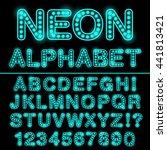neon light alphabet in cyan... | Shutterstock .eps vector #441813421
