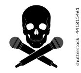 skull with crossed microphones  ... | Shutterstock .eps vector #441815461