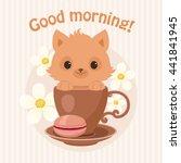 Brown Kitten Cat In A Tea Cup...