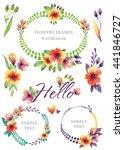 watercolor botanical borders... | Shutterstock . vector #441846727