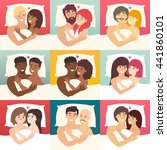 couple in bed vector set. happy ... | Shutterstock .eps vector #441860101