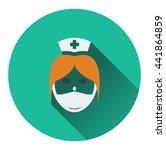 nurse head icon. flat color...