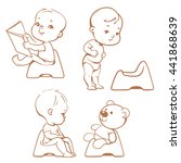 set of cute little babies... | Shutterstock .eps vector #441868639