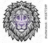 detailed lion in aztec filigree ... | Shutterstock .eps vector #441877249