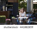 happy brunette woman calling by ... | Shutterstock . vector #441882859