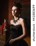 sensual gothic woman in a long