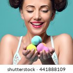 happy surprised woman hold... | Shutterstock . vector #441888109