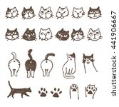 various kinds of cats  face ... | Shutterstock .eps vector #441906667