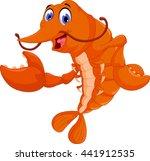 cute shrimp cartoon posing | Shutterstock .eps vector #441912535