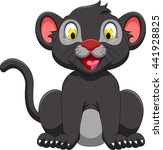 cute black panther sitting | Shutterstock .eps vector #441928825