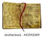 Small photo of Alchemic book with mystic and fantasy symbols on shabby pages isolated. Halloween concept, black magic ritual with occult and esoteric signs